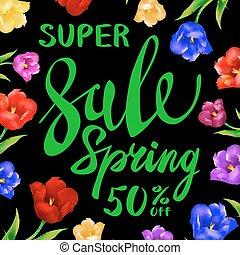 バックグラウンド。, 色, 春, 販売サイン, チューリップ, ベクトル, 緑, 花, 黒