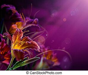 バックグラウンド。, 花, 抽象的, copy-space