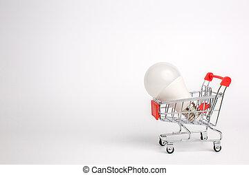 バックグラウンド。, 購入, 概念, 電球, リードした, 販売, 隔離された, ビジネス, 白, カート, 考え, ライト