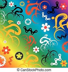 バックグラウンド。, 面白い, アイコン, 装飾用である, 春, サイクリング