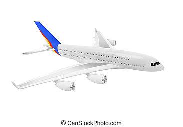バックグラウンド。, 飛行機, 白, 隔離された
