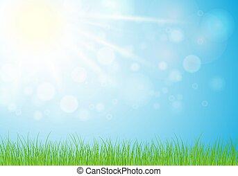 バックグラウンド。, 10., 太陽, ∥あるいは∥, 日当たりが良い, 空 ライト, 日, 春, 草, 自然, 夏, illustration.eps, 背景, 青
