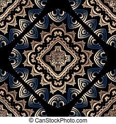 バックグラウンド。, pattern., テンプレート, 贅沢, 種族, seamless, スタイル, 型, 装飾用, 民族, 花, ベクトル, 美しい, 繰り返し, 抽象的, ornaments., design., mandalas, mandalas., 華やか, バロック式, カラフルである, 現代