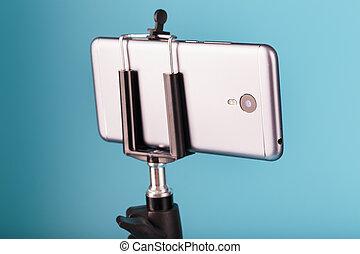 バックグラウンド。, photo-video, レコード, ビデオ, 三脚, blog., smartphone, 青, 写真, あなたの, カメラ