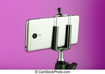バックグラウンド。, photo-video, レコード, 三脚, ピンク, blog., smartphone, ビデオ, 写真, あなたの, カメラ