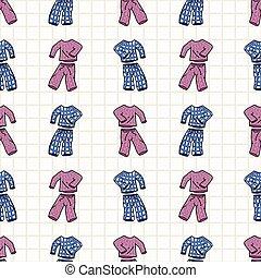 バックグラウンド。, print., pattern., 手オーバー, パジャマ, 時間, 愛らしい, seamless...