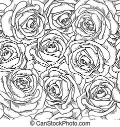 バックグラウンド。, seamless, hand-drawn., ばら, 黒, 白