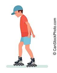 バックグラウンド。, skates., 白, ティーネージャー, ローラー