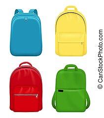 バックパック, 革, 旅行袋, 学校, realistic., 個人的, mockup, オブジェクト, ベクトル, 手荷物