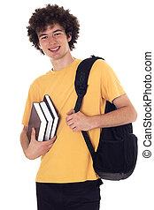 バックパック, books., 学生, 幸せ