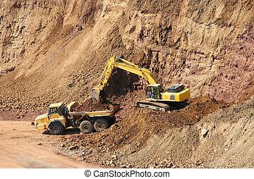バックホウ, dumptruck, 採石場, 岩