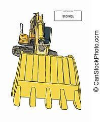 バックホウ, vector., 黄色, 積込み機, スケッチ