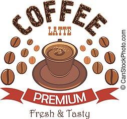 バッジ, コーヒー, latte, 優れた, カップ