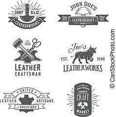 バッジ, セット, 本物, 革, 型用具, デザイン, 灰色, イラスト, 職人, 技能, ベクトル, labels., ロゴ, 最初に, 市場, レトロ