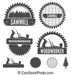 バッジ, セット, 紋章, ラベル, 製材所, 要素, woodworkers, ∥あるいは∥, 大工仕事