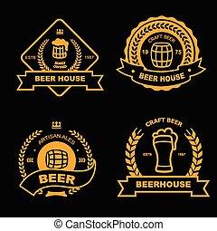 バッジ, セット, 金, 型, 家, ビール, 要素, デザイン, pub, ロゴ, バー