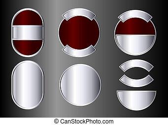 バッジ, セット, 銀, 赤