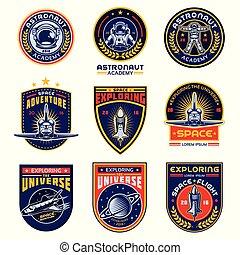 バッジ, テンプレート, ロゴ, プログラム, ラベル, スペース