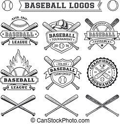 バッジ, ロゴ, 野球, ベクトル