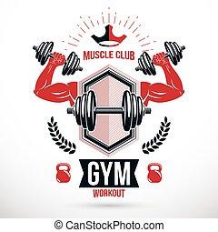 バッジ, 二頭筋, 強い, テンプレート, 重量, 鐘, シンボル, やかん, equipment., ジム, スポーツマン, 作成される, ディスク, ばかである, 保有物, フィットネス, グラフィック, スポーツ, ベクトル, 腕