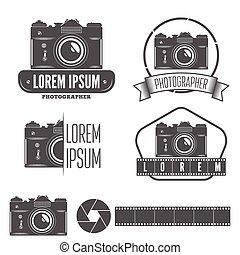 バッジ, 写真, セット, 紋章, カメラマン, ラベル, 要素, スタジオ, ∥あるいは∥