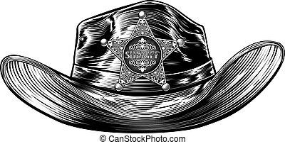 バッジ, 星, 帽子, 保安官, カウボーイ