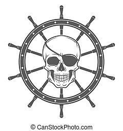 バッジ, 暗い, 概念, 頭骨, eyepatch, 悪, とても, tシャツ, roger, vector., template., ロゴ, 海賊, design.