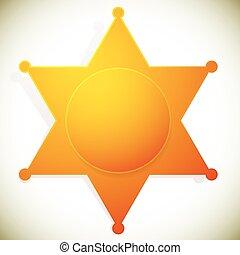 バッジ, illustration., 保安官, クラシック, star., ベクトル, 西部