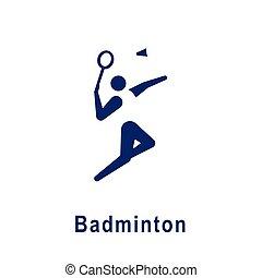 バドミントン, 新しい, icon., スポーツ, pictogram