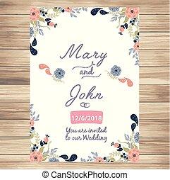 バニラ, 結婚式, ベクトル, 背景, 招待, 花, イメージ