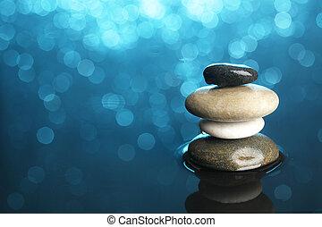 バランスをとられた, 石, 水