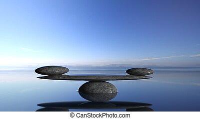 バランスをとる, 禅, 石, 中に, 水, ∥で∥, 青い空, そして, 平和である, 景色。