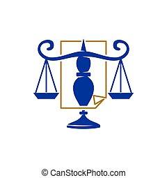 バランス, アイコン, スケール, 正義, ペーパー, ベクトル, デザイン, 会社, 法律, ロゴ