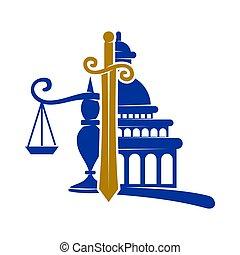 バランス, アイコン, 正義, ベクトル, 剣, デザイン, 隔離された, 会社, 法律, ロゴ
