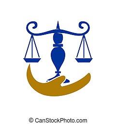 バランス, アイコン, 正義, ベクトル, 手, デザイン, 隔離された, 会社, 法律, ロゴ