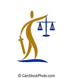 バランス, アイコン, 正義, 剣, 人々, デザイン, 隔離された, 会社, 法律, ロゴ