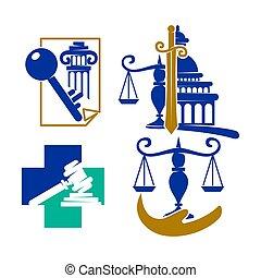 バランス, セット, アイコン, 正義, ベクトル, デザイン, 会社, 法律, ロゴ, 交差点