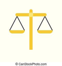 バランス, 正義, ベクトル, スケール, 法律, アイコン