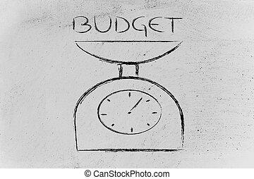 バランス, 測定, あなたの, 予算, ファインド