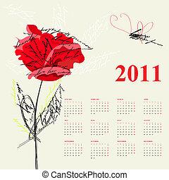 バラ, カレンダー, 2011, 赤, flo