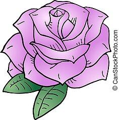 バラ, ピンク, すてきである, イラスト
