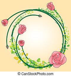 バラ, フレーム, 花, backgroud