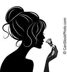 バラ, 女の子, シルエット, 美しさ