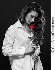 バラ, 女, 巻き毛, 保有物, 赤