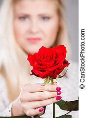 バラ, 女, 赤, 手を持つ