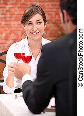 バラ, 恋人, ワイン, 飲むこと, レストラン