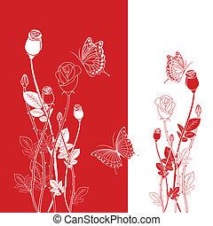 バラ, 抽象的, 赤
