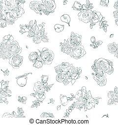 バラ, 生地, white., 緑, ナシ, 包むこと, パターン, 花, seamless, 引かれる, 線, プリント, イラスト, 手