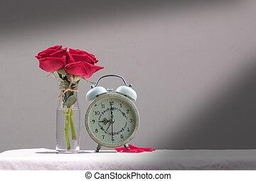 バラ, 生活, まだ, 赤いテーブル