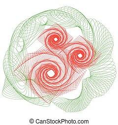 バラ, 花, アウトライン, 図画